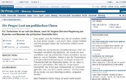 Die Presse k politickému chaosu v ČR