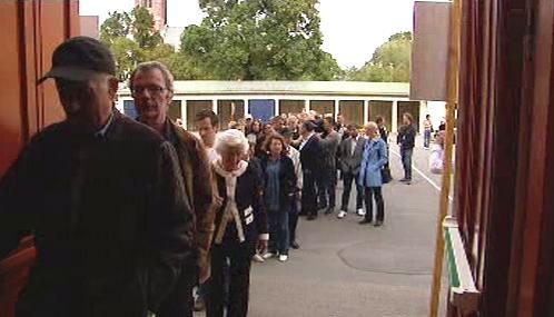 Fronta před volební místností v Norsku
