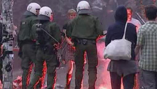 Střet s policií v Hamburku