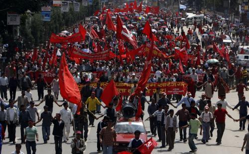 Demonstrace stoupenců nepálských maoistů