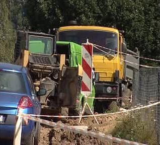 Místo nehody na staveništi v Ludvíkovicích