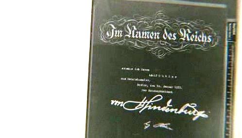 Kopie jmenování Adolfa Hitlera říšským kancléřem
