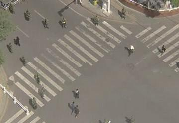 Vylidněné ulice Urumči