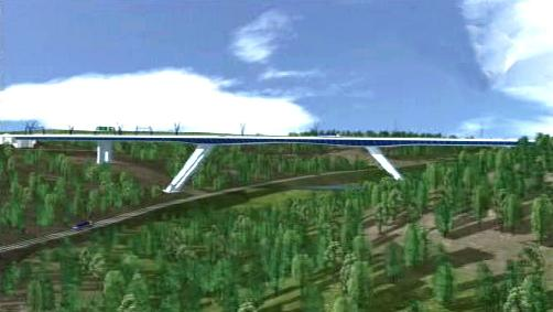 Model unikátně projektovaného mostu