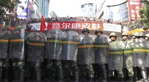 Zásah čínské policie v Sin-ťiangu