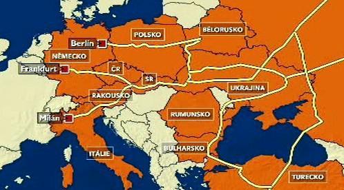 Mapa plynovodů