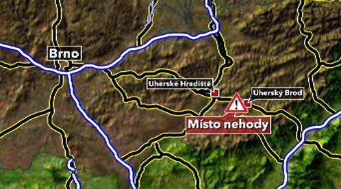 Místo tragické nehody u Uherského Brodu