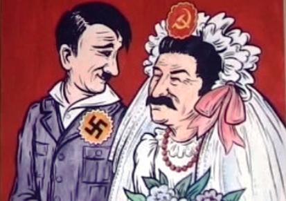 Karikatura Hitlera a Stalina
