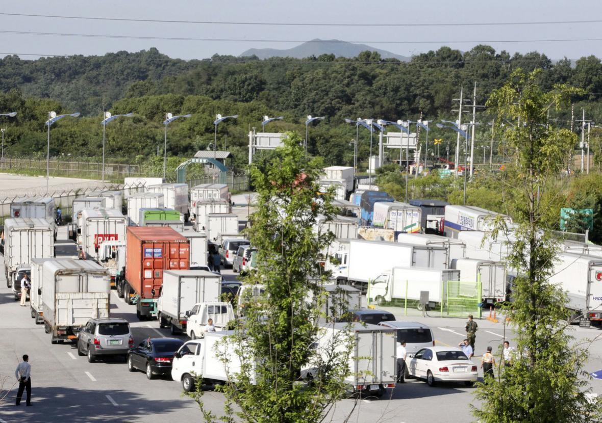 Kamiony na korejské hranici