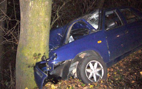 Auto po nárazu do stromu