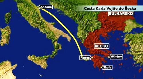 Cesta Karla Vojíře do Řecka