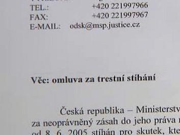 Omluva ministerstva spravedlnosti
