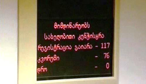 Hlasování v gruzínském parlamentu