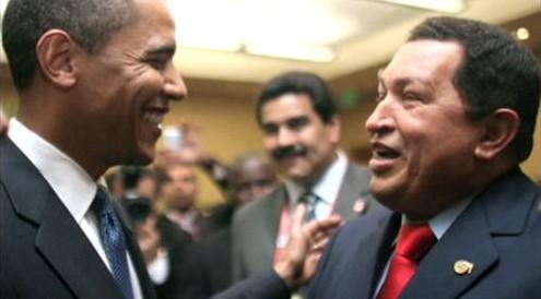 Barack Obama a Hugo Chávez