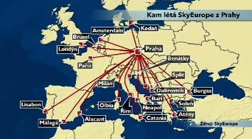 Lety společnosti SkyEurope z Prahy