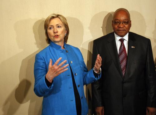 Hillary Clintonová a Jacob Zuma