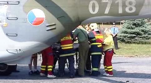 Zásah vrtulníku v Chebu
