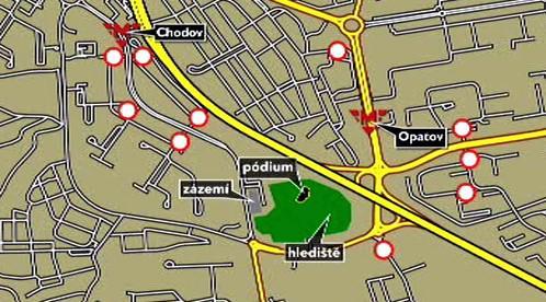 Mapa uzavírek kvůli koncertu Madonny