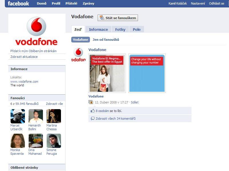 Profil společnosti Vodafone na Facebooku