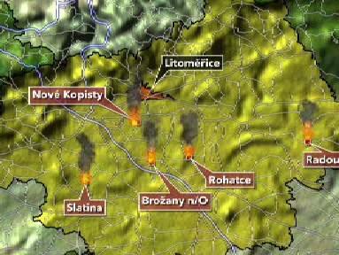 Mapa zachycující požáry založené žhářem