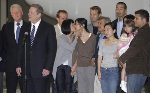 Laura Lingová a Euna Leeová po příletu do USA
