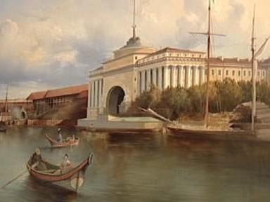 F. V. Perrot: Pohled na Velkou Něvu a nábřeží Admirality