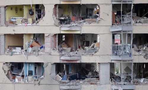 Následky výbuchu bomby ve španělském Burgosu