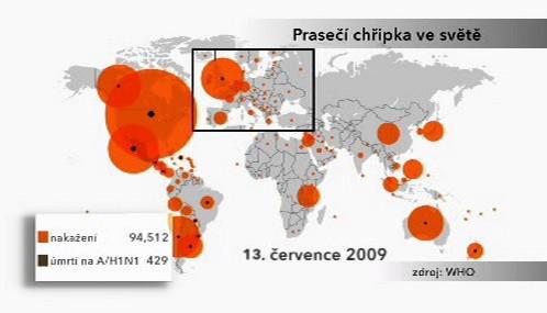 Výskyt prasečí chřipky ve světě k 13.7.2009