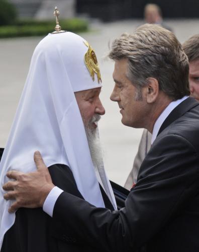 Patriarcha Kirill s ukrajinským prezidentem Viktorem Juščenkem