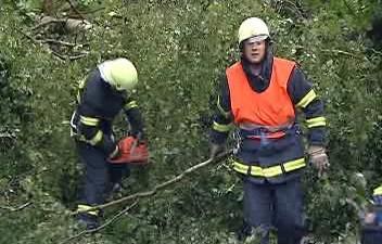 Hasiči odstraňují popadané stromy