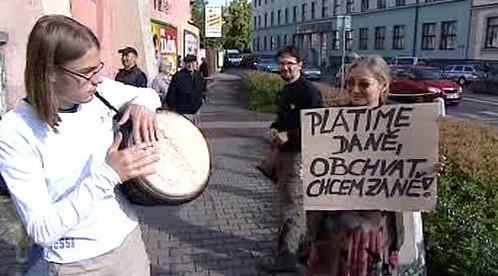 Protestující v Chrudimi