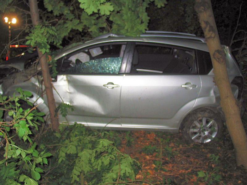 Auto porazilo několik stromů