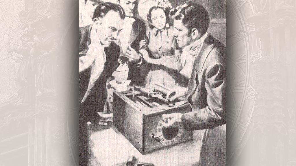 William Austin Burt předvádí svůj psací stroj (dobová ilustrace)