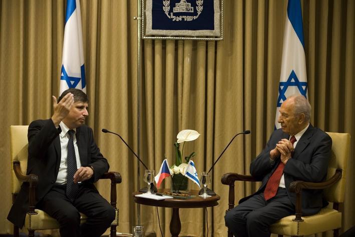 Jan Fischer a Šimon Peres
