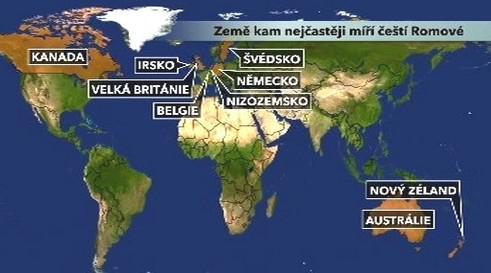 Země kam nejčastěji míří čeští Romové