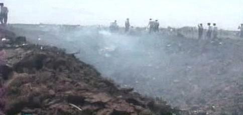 Kráter po pádu íránského letadla