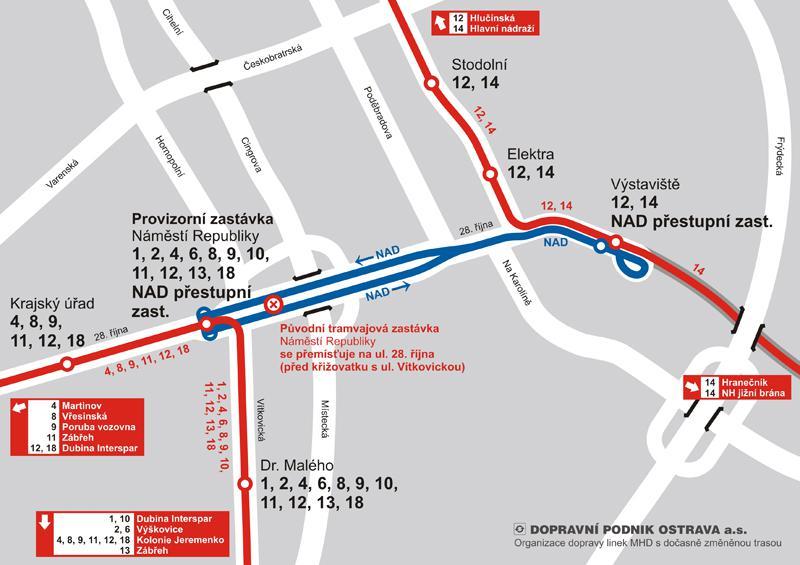 Oprava tramvajového mostu v ulici 28. října