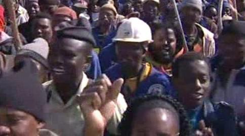Stávkující jihoafričtí dělníci