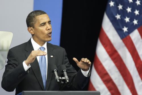 Barack Obama při projevu v Moskvě
