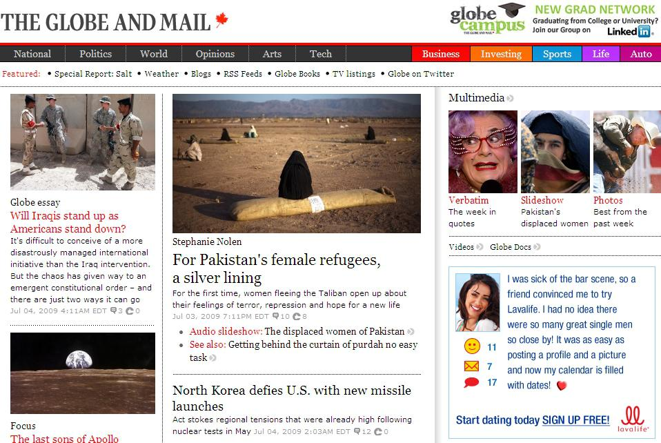 Web deníku The Globe and Mail