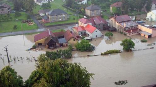Letecké záběry záplav