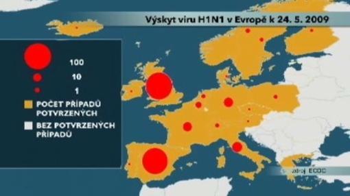 Mapa výskytu viru H1N1