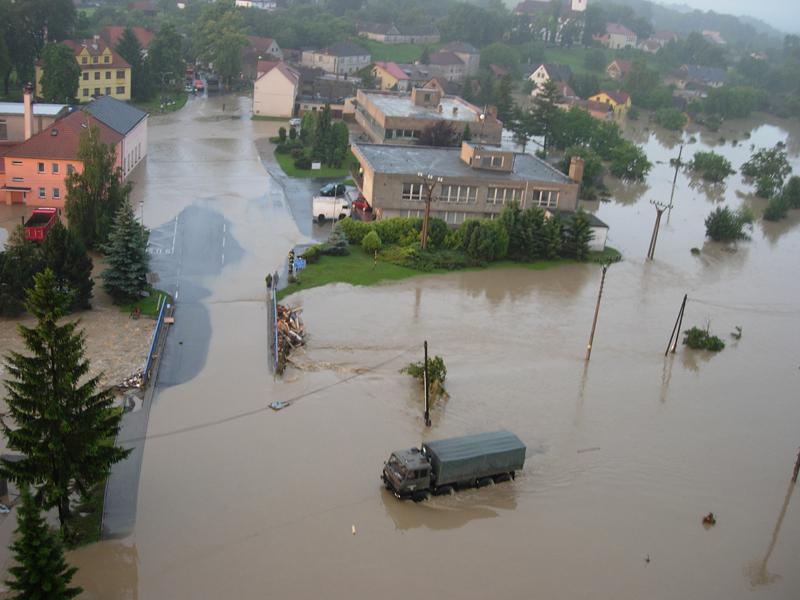 Letecký snímek zaplavených oblastí