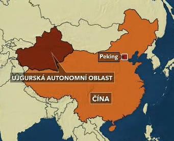 Mapa ujgurské autonomní oblasti