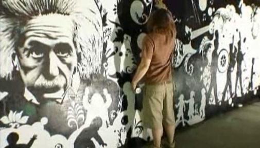 Albert Einstein na stěně  Royal Albert Hall