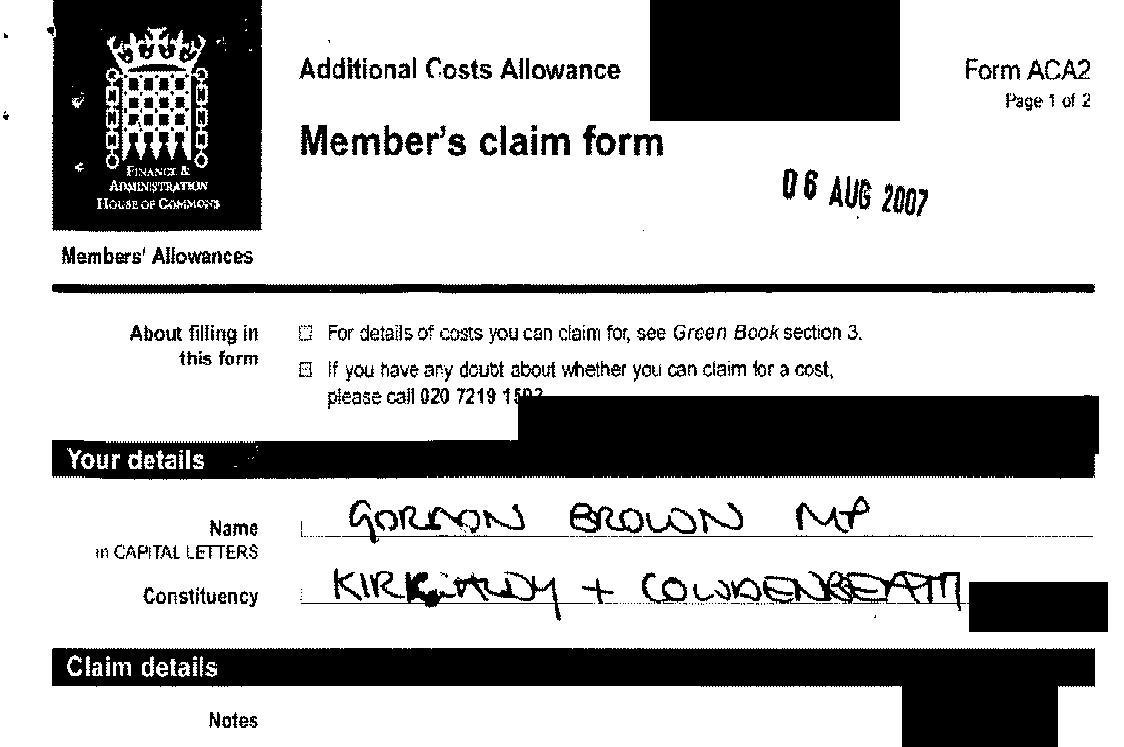 Formulář Gordona Browna