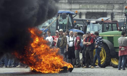 Traktory obsadily Brusel