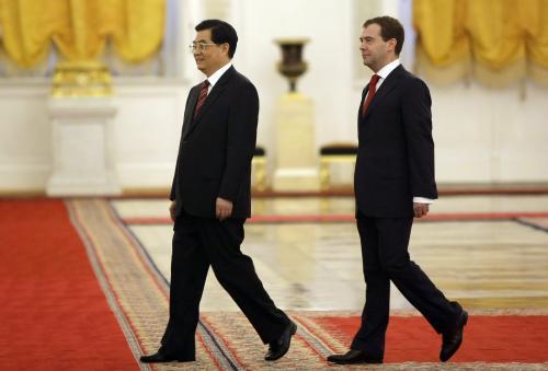 Chu Ťin-tchao a Dmitrij Medveděv