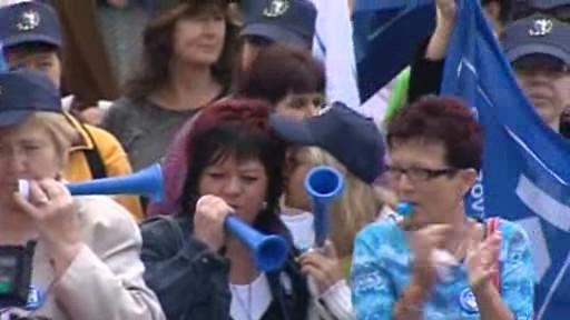 Protestující zaměstnanci firmy Kopp