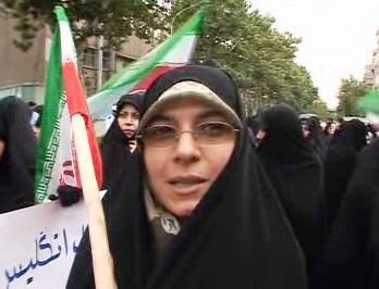 Demonstrace Ahmadínežádových příznivců
